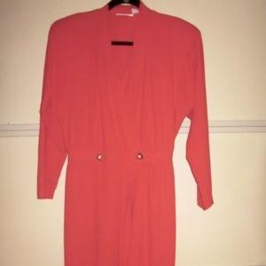 Liz Claiborne Red V-Neck Long Sleeve Dress 12